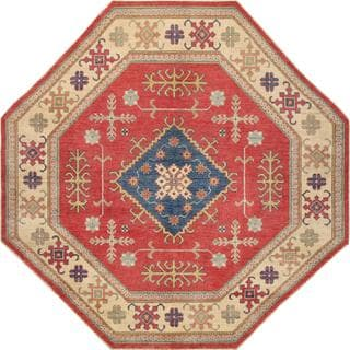 Pasargad Kazak Hand-knotted Rust-ivory Wool Area Rug (7' x 7')