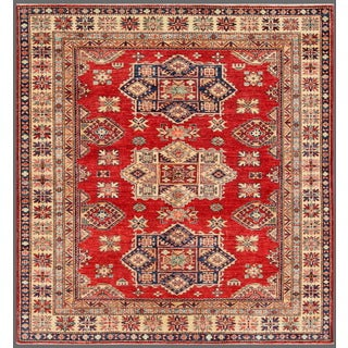 Pasargad Kazak Hand-knotted Rust-ivory Lamb's Wool Area Rug (6' x 7')