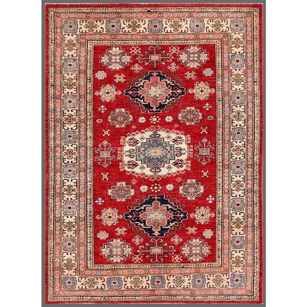 Pasargad Kazak Hand-knotted Rustandivory Lamb's Wool Area Rug (5' x 7')