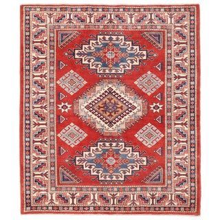 Pasargad Kazak Hand-knotted Rust-ivory Wool Area Rug (5' x 6')