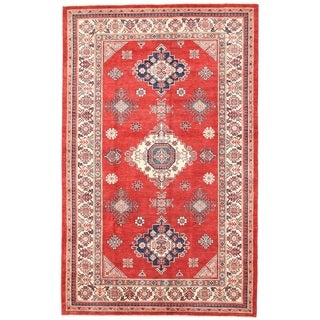Pasargad Kazak Hand-knotted Rust'ivory Wool Area Rug (6' x 10')