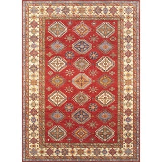 Pasargad Tribal Kazak Hand-knotted Red-ivory Lamb's Wool Area Rug (9' x 12')