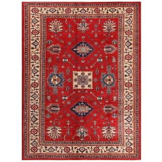Pasargad Caucasian Kazak Hand-knotted Rust-ivory Lamb's Wool Area Rug (8' x 11')