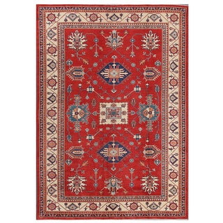 Pasargad Kazak Hand-knotted Rust-ivory Wool Rug (8' x 12')