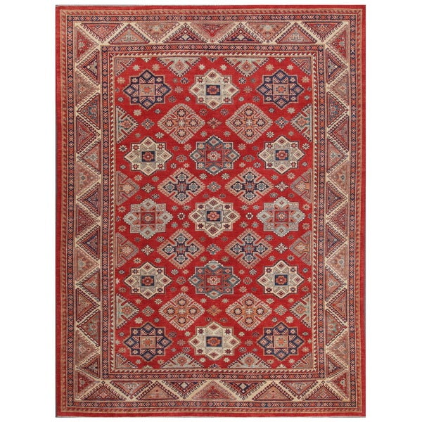 Shop Pasargad Tribal Kazak Hand Knotted Rust And Ivory
