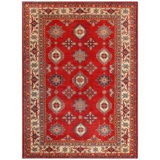 Pasargad Hand-knotted Kazak Rust-ivory Wool Area Rug (10' x 14')