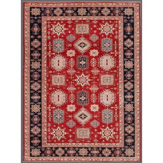 Pasargad Tribal Geometric Kazak Hand-knotted Rust and Navy Wool Rug (10' x 13')