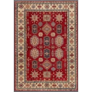 Pasargad Kazak Hand-knotted Rust-ivory Lamb's Wool Geometric Area Rug (10' x 13') - 10' x 14'