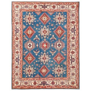 Pasargad Hand-knotted Tribal Kazak Blue-ivory Wool Area Rug (9' x 11')