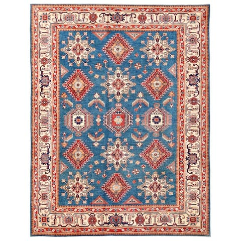 Pasargad Home Kazak Collection Hand-knotted Blue-ivory Wool Area Rug- 9' x 11' - 9' x 12'