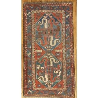 Pasargad Kazak Hand-knotted Rust-navy Lamb's Wool Area Rug (4' x 7')
