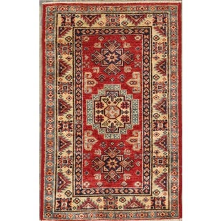 Pasargad Kazak Hand-knotted Rust-ivory Lamb's Wool Area Rug (2' x 3')