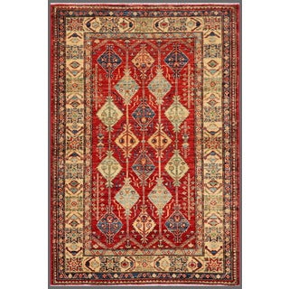Pasargad Kazak Hand-knotted Rustandivory Lamb's Wool Area Rug (4' x 5')