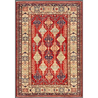 Pasargad Kazak Hand-knotted Rust-ivory Lamb's Wool Area Rug (4' x 5')