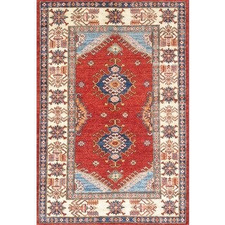 Pasargad Kazak Hand-knotted Red-ivory Lamb's Wool Area Rug (3' x 5')