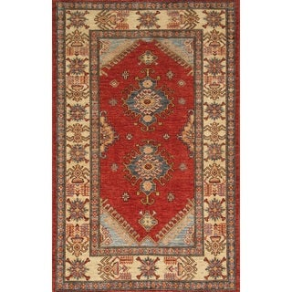 Pasargad Kazak Hand-knotted Red\ivory Lamb's Wool Area Rug (3' x 5')