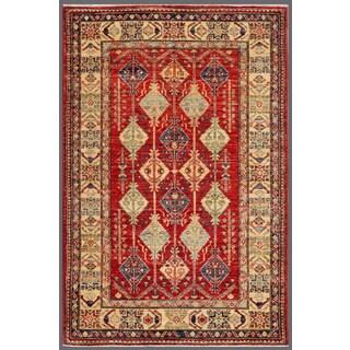 Pasargad Kazak Hand-knotted Rustandivory Lamb's Wool Area Rug (3' x 5')