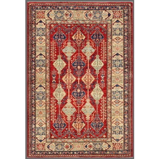 """Pasargad Kazak Hand-knotted """"""""rust-ivory"""""""" Lamb's Wool Area Rug (3' x 5') - 3' x 5'"""