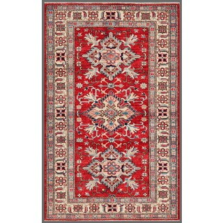 Pasargad Kazak Hand-knotted Rust-ivory Lamb's Wool Rug (3' x 5')