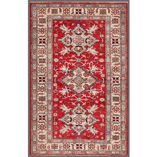 Pasargad Kazak Hand-knotted 'rust-ivory' Lamb's Wool Area Rug (3' x 5')