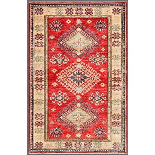 Pasargad Kazak Hand-knotted Rust-ivory Lamb's Wool Area Rug (3' x 5') - 3' x 5'