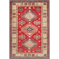 Pasargad Kazak Hand-knotted Rust// Ivory Lamb's Wool Area Rug (3' x 5')