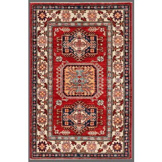 Pasargad Kazak Hand-knotted Rust--ivory Lamb's Wool Area Rug (3' x 4')