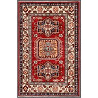 Pasargad Kazak Hand-knotted Rust--ivory Lamb's Wool Area Rug (3' x 4') - 3' x 4'