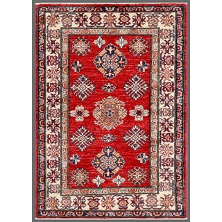 Pasargad Kazak Hand-knotted Rust/ Ivory Lamb's Wool Area Rug (3' x 4')