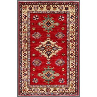 Pasargad Kazak Hand-knotted Rust-ivory Lamb's Wool Area Rug (3' x 4')