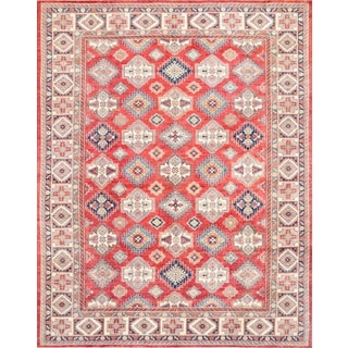 Pasargad Kazak Hand-knotted Rust-ivory Wool Geometric Rug (12' x 16')