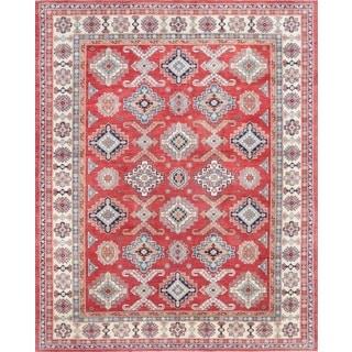 Pasargad Geometric Tribal Kazak Hand-knotted Rust-ivory Wool Area Rug (12' x 15')