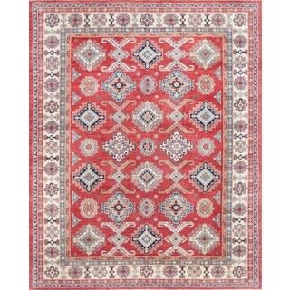 Pasargad Geometric Tribal Kazak Hand-knotted Rust-ivory Wool Area Rug (12' x 15') - 12' x 15'