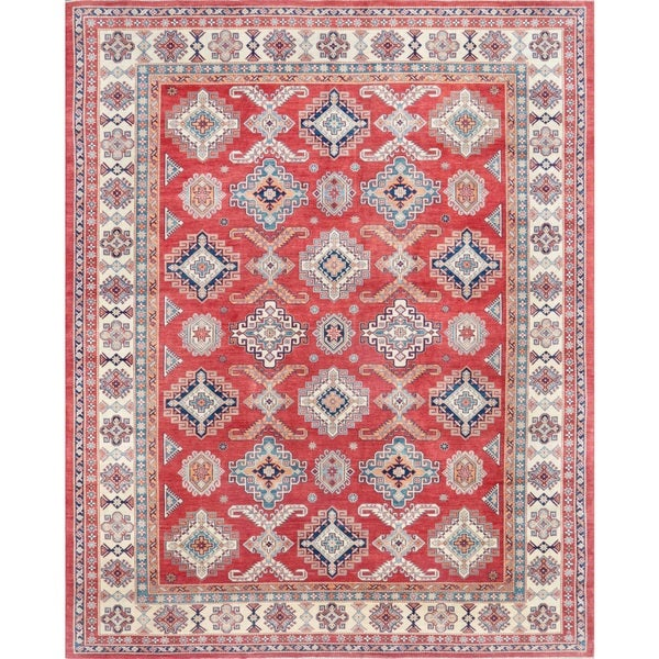 Pasargad Geometric Tribal Kazak Hand-knotted Rust-ivory Wool Area Rug (12' x 15')