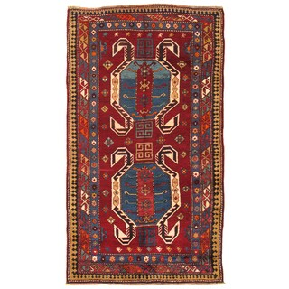 Pasargad Kazak Hand-knotted Red-navy Lamb's Wool Area Rug (5' x 8') - 5' x 8'
