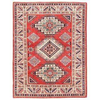 Pasargad Kazak Hand-knotted Rustandivory Wool Area Rug (5' x 7')