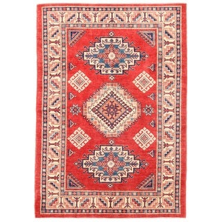 Pasargad Kazak Hand-knotted Rust-ivory Wool Rug (5' x 7')