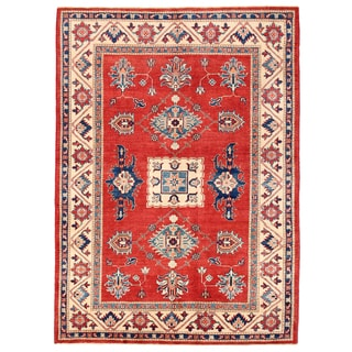 Pasargad Kazak Hand-knotted Rust-ivory Wool Area Rug- (5' x 7')