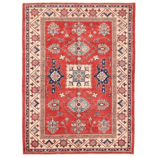 Pasargad Kazak Hand-knotted Rust// Ivory Wool Area Rug (5' x 7')