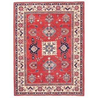 Pasargad Kazak Hand-knotted Rust--ivory Wool Area Rug (5' x 7')