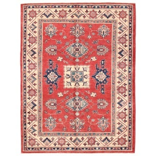 Pasargad Kazak Hand-knotted Rust''ivory Wool Area Rug (5' x 7')