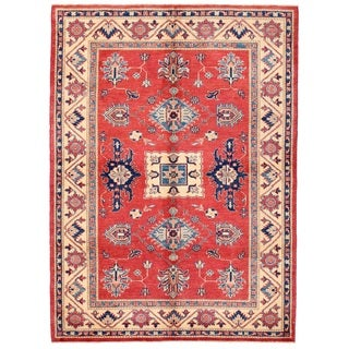 Pasargad Kazak Hand-knotted 'rust/ Ivory' Wool Area Rug (5' x 7')