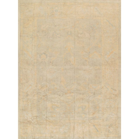 Pasargad Turkish Oushak Hand-knotted L.green-beige Wool Rug (10' x 14') - 10' x 14'