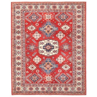 Pasargad Tribal Kazak Hand-knotted Rust-ivory Wool Area Rug (9' x 11')