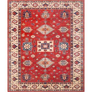Pasargad Geometric Kazak Hand-knotted Rust// Beige Wool Rug (9' x 11')