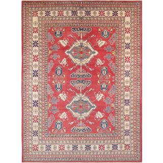 Pasargad Tribal Kazak Hand-knotted Rust-ivory Wool Rug (10' x 13')