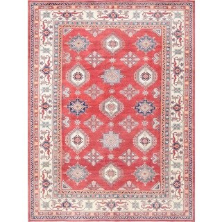 Pasargad Geometric Tribal Kazak Hand-knotted Rust-ivory Wool Rug (11' x 14')