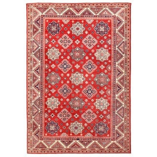 Pasargad Kazak Hand-knotted Rust-ivory Wool Rug (10' x 14')