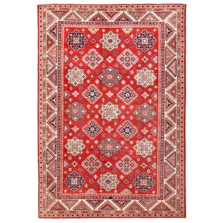 Pasargad Kazak Hand-knotted Rust-ivory Wool Rug (10' x 14') - 10' x 14'
