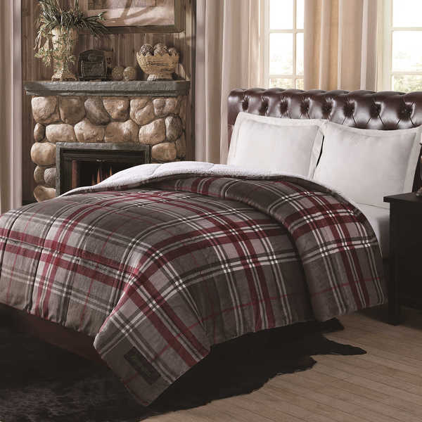 Remington Printed Grey Plaid Supreme Velvet Comforter with Sherpa Reverse